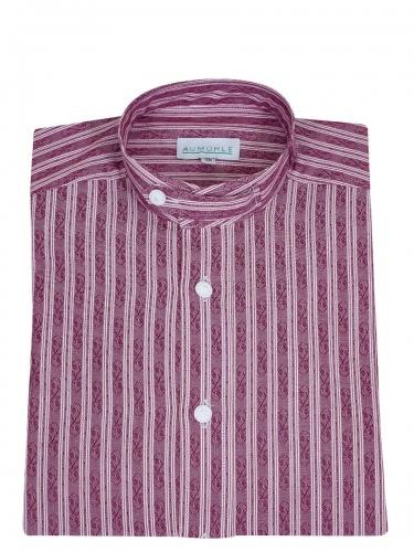 Waldorff Trachtenhemd, Pfoad, weinrot mit weißen Streifen, gemustert, Stehkragen