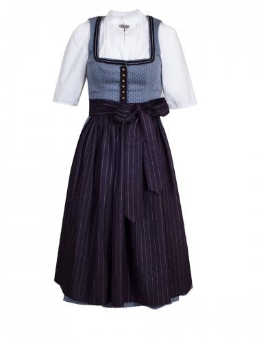 Gottseidank Dirndl Monika, hellblau-dunkelblau, hochwertig, festlich, Stretch, 70cm