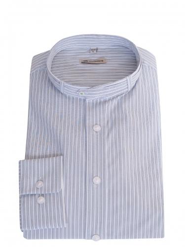 Gottseidank Trachtenhemd Lenz, blau-beige gestreift, Stehkragen, Slim