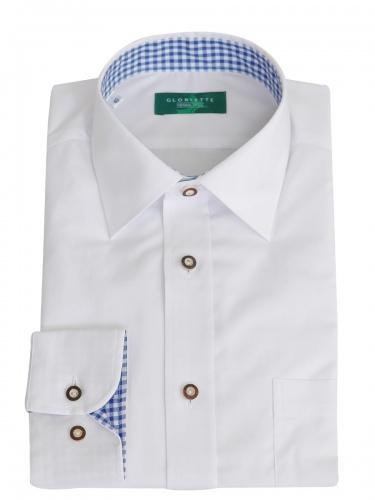 Gloriette Herrenhemd weiß mit blauem Karostoff