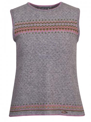Huber Strickpullunder Dina, grau, rosa-grün gemustert, Rückenfalte