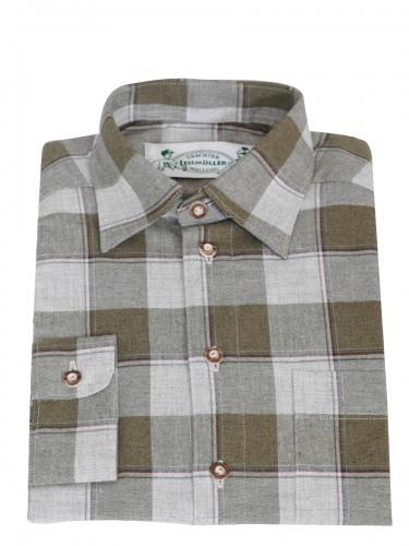 Arzberger Flanellhemd, grün-grau großkariert, Hirschhorn