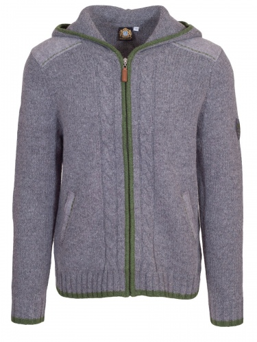 Hammerschmid Kapuzen-Strickjacke Elias, grau mit grüner Einfassung