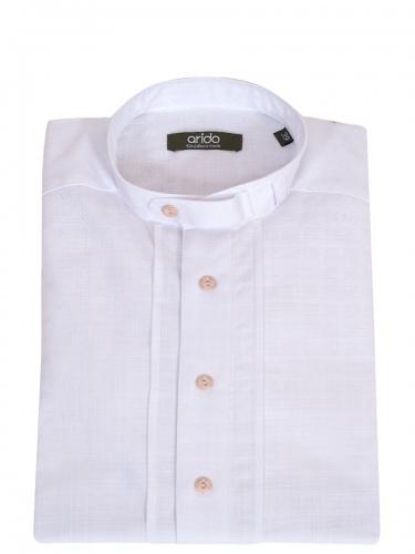 Arido Trachtenhemd weiß, längsgestreift, Fischgradmuster, Stehkragen, Pfoad