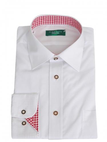 Gloriette Herrenhemd weiß mit rotem Karostoff