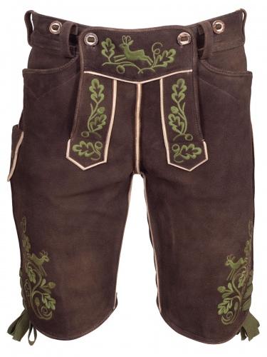 Kurze Lederhose Chieming Wildbock, antik Humus, olivgrüner Stick