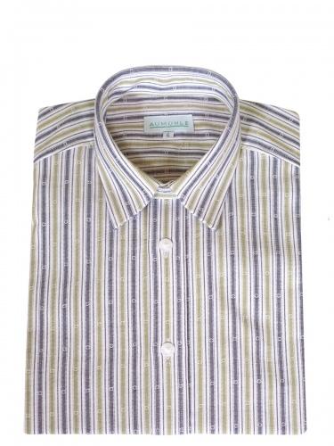 Waldorff Trachtenhemd, Pfoad, blau-apfelgrün gestreift, Liegekragen