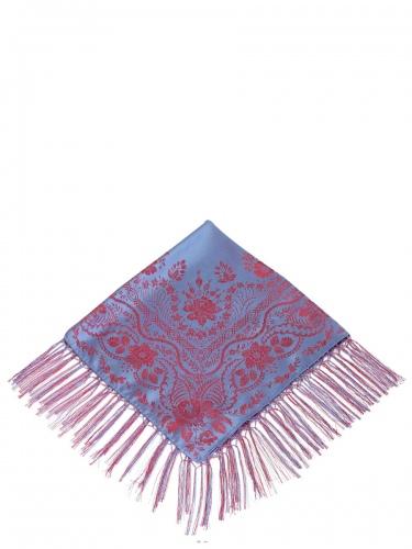 Flemmich Seidentuch 822 KF, blau-rot, Knüpffransen, 80x80