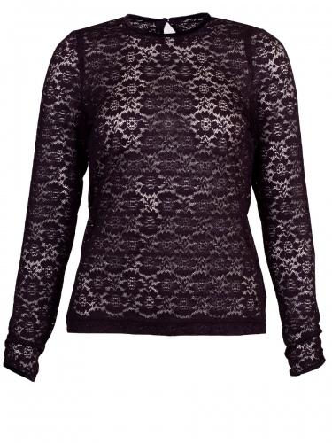 Wenger Brita Spitzenshirt, schwarz, hochgeschlossen, Langarm, Stretch
