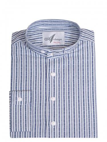 Arzberger Baumwollhemd, blau-weiß, gestreift, Pfoad, Stehkragen, Slim Line