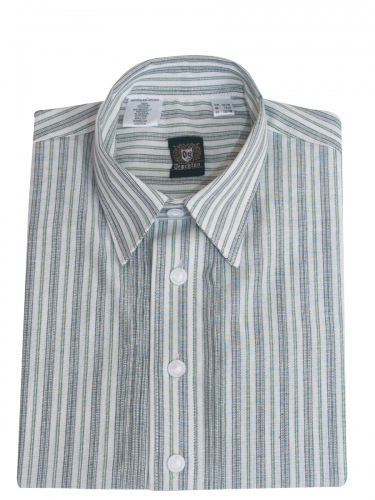 Orbis Kinderhemd trachtengrün-weiß gestreift mit Riegel