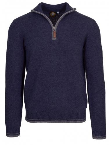 Hammerschmid Pullover Jens, blau-grau, hoher Kragen, Reißverschluss