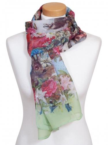 Moser Trachtenschal Rafia, bunt, Blumen- Trachtenmotive