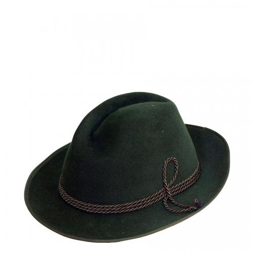 Faustmann Samtvelour-Hut, grün, Seidenkordel, echte Handarbeit