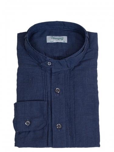Viererspitz Herrenhemd Christoph, dunkelblau, kleinkariert, hochwertig verarbeitet