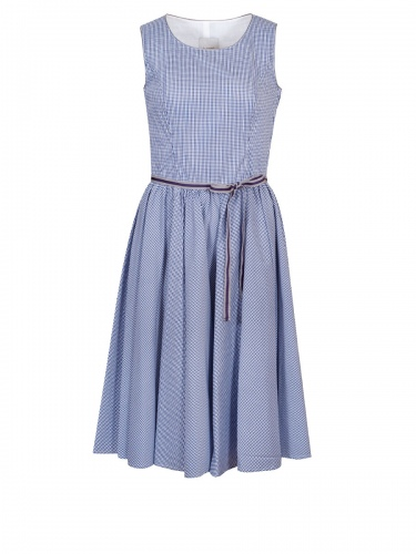 Moser Niederau Sommerkleid, blau-weiß kariert, grau-blaue Schleife, Stretch,