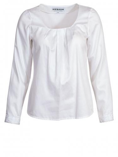 Hiebaum Langarmbuse, weiß, Spitzenabschlüsse, elegant