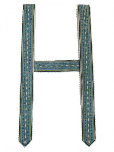 Träger Handdruck in blau-grün, 4 cm breit