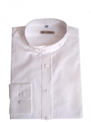 Gottseidank Trachtenhemd Lenz, weiß, in sich gestreift, Stehkragen, Slim