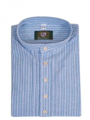 Orbis Herrenhemd, jeansblau-weiß gestreift, Pfoad, Stehkragen, SlimFit