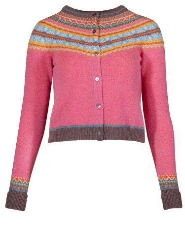Eribè Knitwear Alpine Short Cardigan, Strickjacke, camellia, rosa-bunt