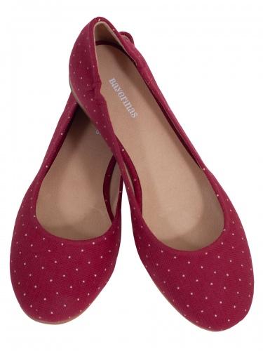 sale retailer db340 686db Bayerinas Damen-Ballerina Salzburg, rot, weiße Tupfen, Fußbett aus Leder
