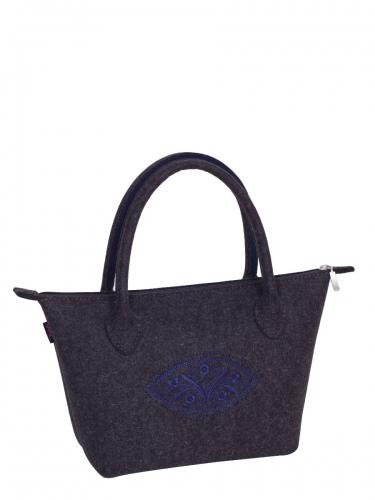 bag+Secade Hänkeltasche Bern-L, anthrazit, blauer Stick