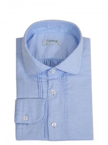 Viererspitz Herrenhemd Christoph, hellblau gestreift, hochwertig verarbeitet