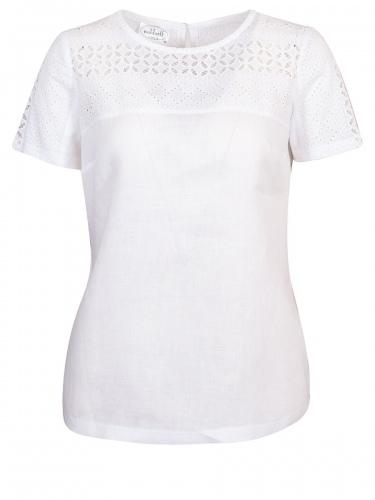Waldorff T-Shirtbluse, Leinen, weiß, Arme und Brust aus Spitze, Jersey-Rücken