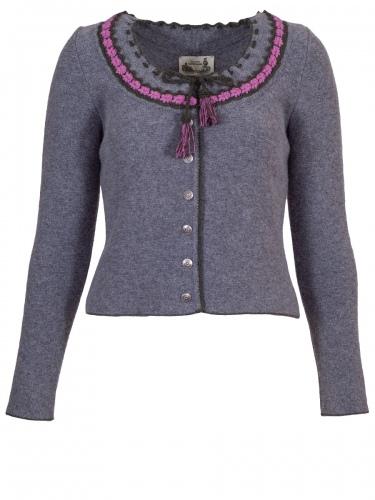 Astrifa Berchtesgadner-Dirndlstrickjacke Endach, grau, gehäkelte Blumen, rosa Einfassung