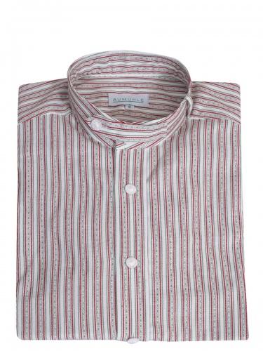 Waldorff Trachtenhemd, Pfoad, rot-grün gestreift, Stehkragen, Wäscheknöpfe