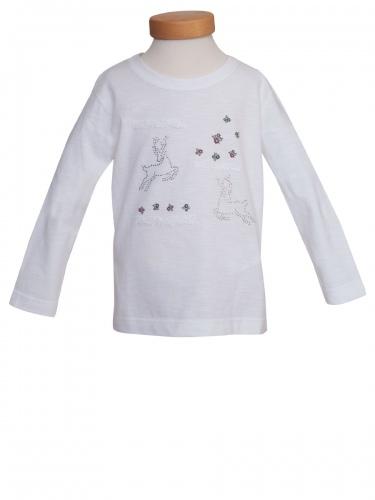 Hammerschmid Kinder-Langarmshirt Wally, weiß, Blümchenmuster, Strasshirsche