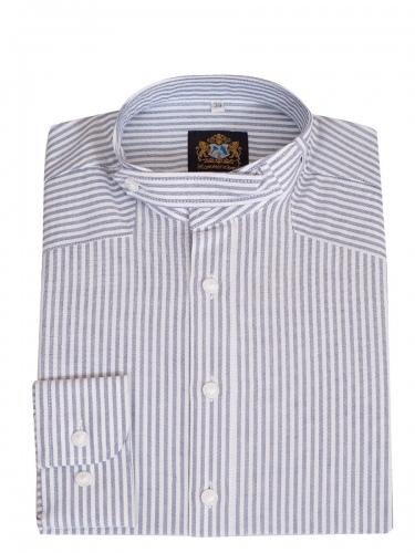 Hammerschmid Trachtenhemd blau-weiß gestreift, Pfoad, Stehkragen