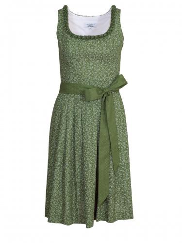 Hiebaum Sommerkleid, apfelgrün mit Blümchen, Stoffband