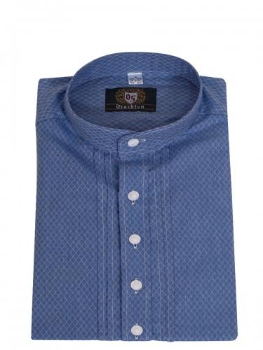 Orbis Trachtenhemd, Pfoad, blau-grau, Rautenmuster, fein strukturiert, Stehkragen