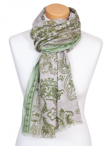 Moser Schal Bionda, luftig, Paisleymuster, grün-beige