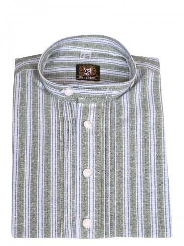 Orbis Kinderhemd trachtengrün-blau gestreift mit Riegel