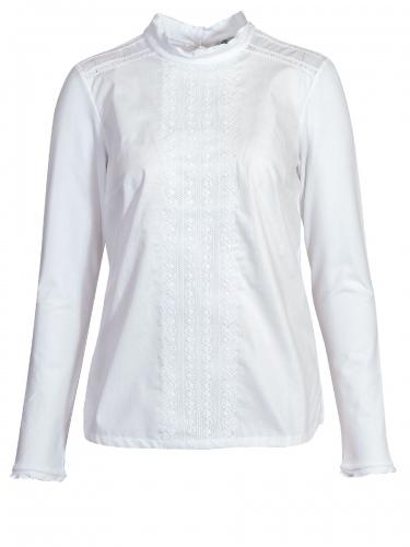 Hammerschmid Stina Damenbluse, Langarm aus Shirtstoff, weiß, Spitzeneinsätze