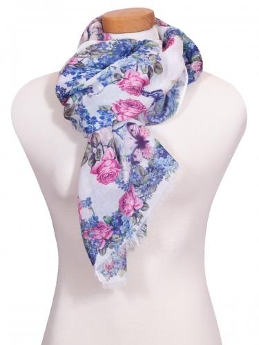 Moser Trachtenschal Imelda, naturfarben mit rosa-blauen Blumen