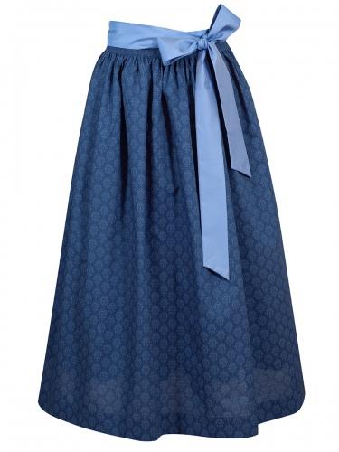 Hammerschmid Baumwollschürze, Seidenband, blau, Ornamente, 90lg