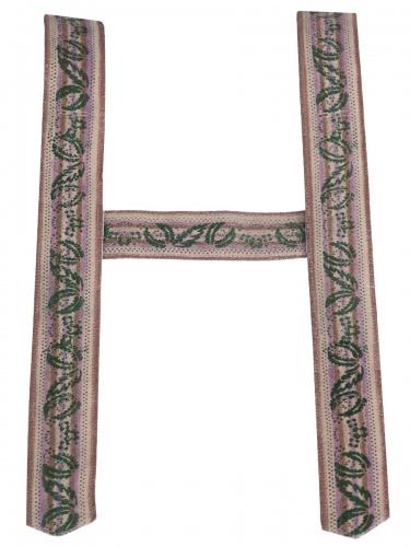 Träger Handdruck in beige-braun, 6 cm breit, ohne Zacken