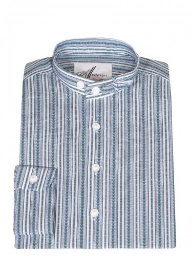 Arzberger Baumwollhemd, marine-grün, gestreift, Pfoad, Stehkragen