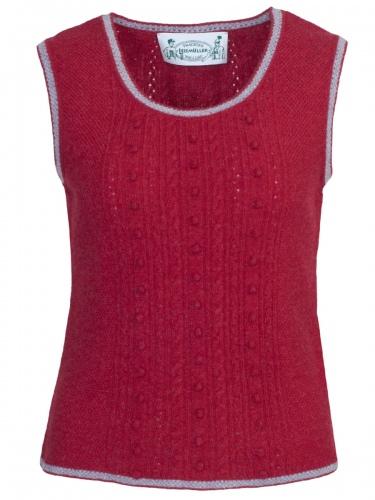 Astrifa Strickpullunder Tulln, rot, Noppen- und Zopfmuster