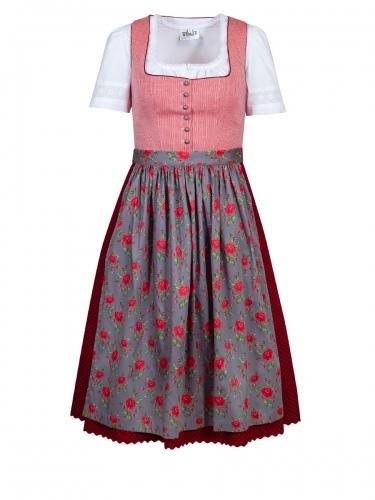 Anno Domini Dirndl Katharine, rot, Schürze mit Rosendruck, Stretch, 70cm