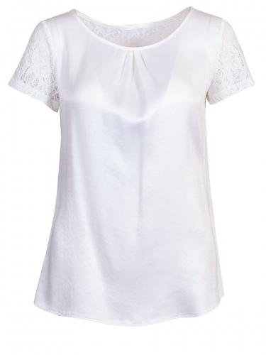 Moser Kurzarm-Shirt Blumenau, weiß, Spitzenärmel, Schulterbereich aus Spitze