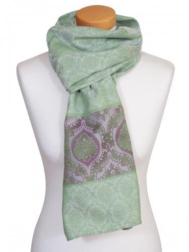 Flemmich Trachtenschal 616, grün-lila, Ornamente