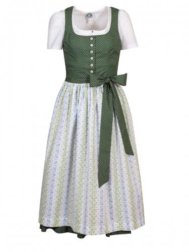 hausg'macht Baumwolldirndl Koflersee, grün, weiße Schürze mit Blumen, Stretch, 80cm