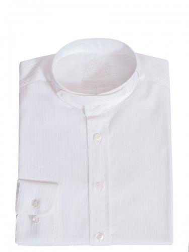 Hammerschmid Trachtenhemd weiß, in sich gestreift, Stehkragen, durchgeknöpft
