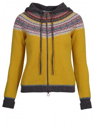 Eribè Knitwear Alpin Hoody, Cardigan, Strickjacke, piccalilli, gelb, Kapuze