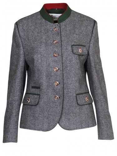 Schloß Orth Lodenjacke Liane, grau tweed, grüner Stehkragen